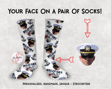 Customized Military Wife Face Design Socks - Custom Photo Socks - Picture Socks - Your Face On A Pair Of Socks - Military Spouse Gift