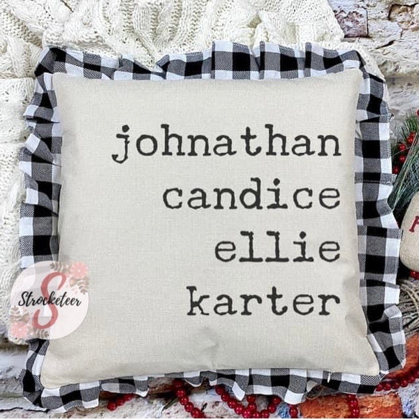 Personalized Family Name Pillow - Black & White Buffalo Check Pillowcase with Personalized Names - Gift Idea - Home Decor
