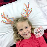 Christmas Reindeer Ears & Antlers Pillowcase with Customized Name - Customized Bed Pillow - Christmas Eve Box Idea