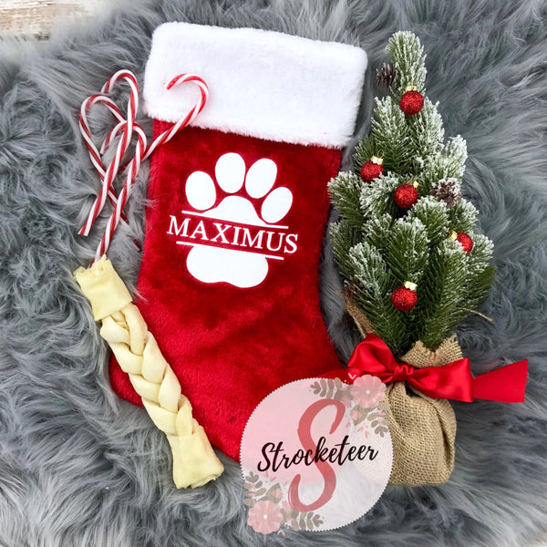 Custom Pet Dog Cat Christmas Stocking - Includes Custom Name with Paw Print