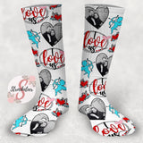 Customized Valentine's Day Face Design Socks - Custom Photo Socks - Picture Socks - Your Face On A Pair Of Socks - Valentine's Gift for Couples