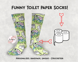 Spare A Square Toilet Paper Socks - Funny Toilet Paper Socks - Novelty Design Socks  - Custom Socks - Funny Design Socks - Handmade Socks