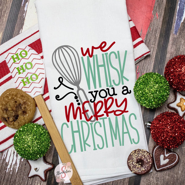 We Whisk You A Merry Christmas - Christmas Decor Hand Towel - Kitchen Accessories