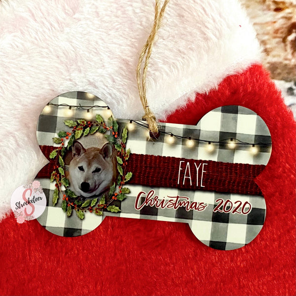 Dog Bone Photo Ornament -  Personalized Christmas Ornament With Custom Photo & Name