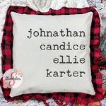 Personalized Family Name Pillow - Red & Black Buffalo Check Pillowcase with Personalized Names - Gift Idea - Home Decor