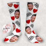 Customized Valentine's Day Face Design Socks - Custom Photo Socks - Picture Socks - Your Face On A Pair Of Socks - Valentine's Gift for Husband or Boyfriend