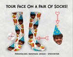 Customized Birthday Face Design Socks - Custom Photo Socks - Picture Socks - Your Face On A Pair Of Socks - Birthday Gift