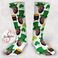Customized St. Patrick's Day Face Design Socks - Custom Photo Socks - Picture Socks - Your Face On A Pair Of Socks