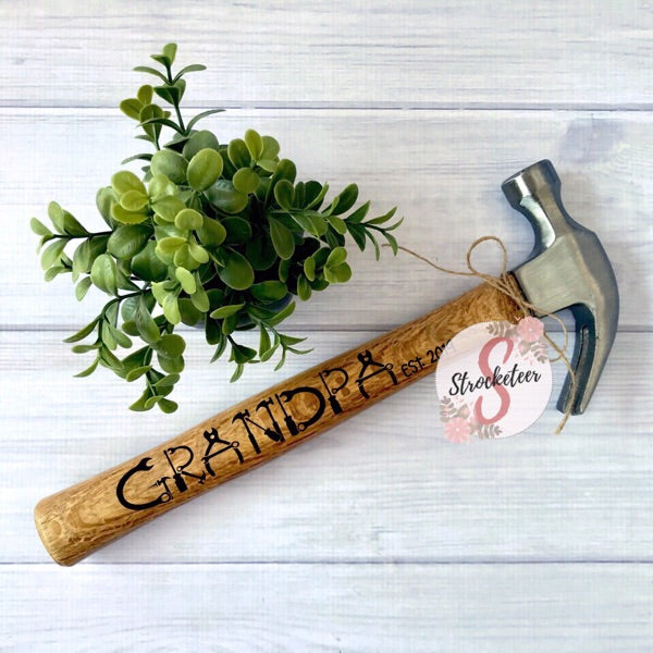 GRANDPA with Custom est. Date - Customized Father's Day Hammer - Pregnancy Announcement - Includes Custom Date - Customized Hammer