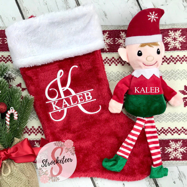 Custom Monogrammed Christmas Stocking & Matching Elf Boy or Girl - Includes Custom Letter & Name