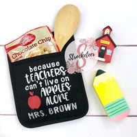 Because Teachers Can't Live On Apples Alone - Potholder Gift Set - Teacher Gift