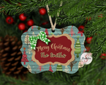 Trees and Burlap Customized / Personalized Christmas Ornament With Custom Name and Year Added