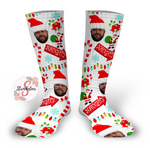 NAUGHTY Design Personalized Face Design Socks - Christmas Socks - Customized Face Design Socks - Custom Photo Socks - Picture Socks - Your Face On A Pair Of Socks