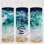 Ocean Waves Personalized Stainless Steel Tumbler with Straw & Lid
