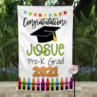 Personalized Pre-K Graduation Yard Flag Sign - Graduation Garden Flag With Custom Colors & Name - Graduation Gift Idea - 2021 Graduate - Pre-K