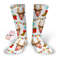 REINDEER Design Personalized Face Design Socks - Christmas Socks - Customized Face Design Socks - Custom Photo Socks - Picture Socks - Your Face On A Pair Of Socks