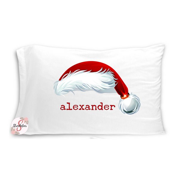 Christmas Santa Hat with Customized Name - Customized Bed Pillow - Christmas Eve Box Idea