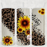 Sunflowers & Cheetah Personalized Stainless Steel Tumbler with Straw & Lid