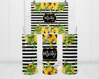 Sunflowers & Stripes Personalized Stainless Steel Tumbler with Straw & Lid