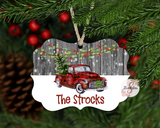 Red Christmas Truck Customized / Personalized Christmas Ornament With Custom Name and Year Added