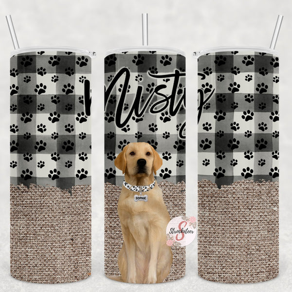 Yellow Lab & Burlap Check Personalized Stainless Steel Tumbler with Straw & Lid