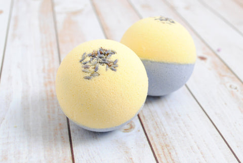 two lavender chamomile bath fizzies