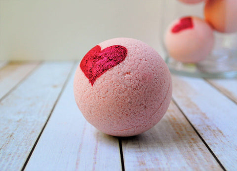 pink bath fizzy with handpainted red heart