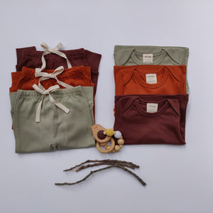 Organic Cotton Baby Pants & Tees - Autumn Colours