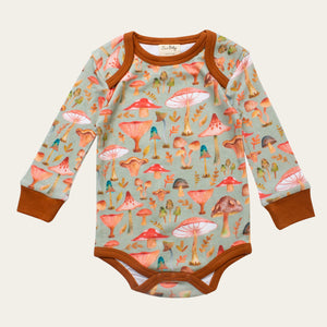 Organic Cotton Baby Bodysuit - Wild Mushrooms