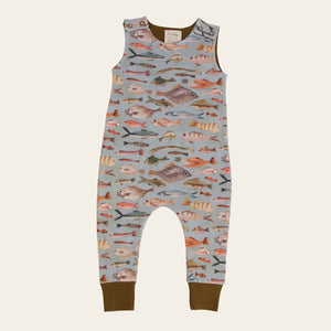Organic Cotton Baby Harem Romper - NZ Fish