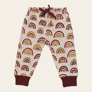 Organic cotton baby pants - Earthy rainbow