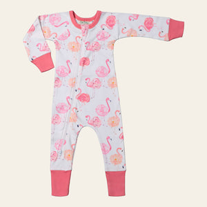 Zip Romper - Flamingo Rose
