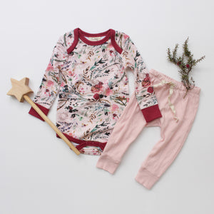 Long-sleeve Bodysuit - Fable Floral // Drawstring Pants - Peach