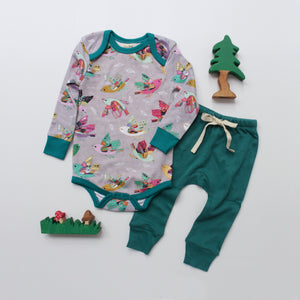 Long-sleeve Bodysuit - Joy Flight // Drawstring Pants - Teal