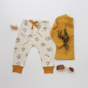 Drawstring Pants - Nature Walk // Essential Tee - Mustard