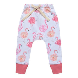 Organic Cotton Baby Pants - Flamingo Rose