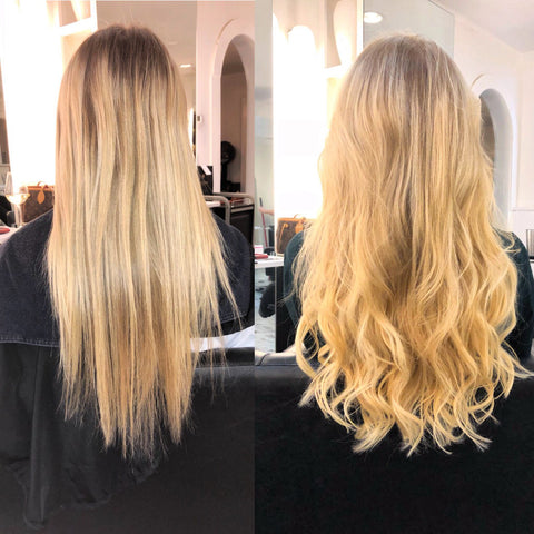 Before and after with Shaggy Loxx clip in hair extensions