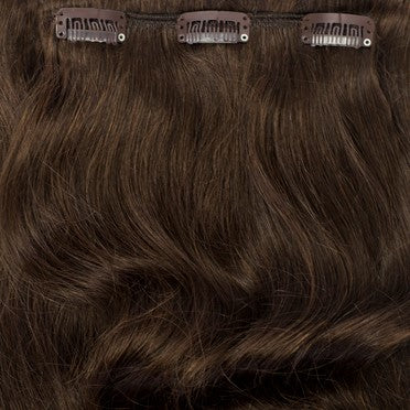chocolate brown shaggy loxx clip in hair extensions