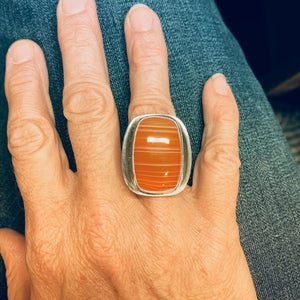 Carnelian Agate and Silver Spoon Ring