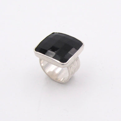 Black Faceted Glass