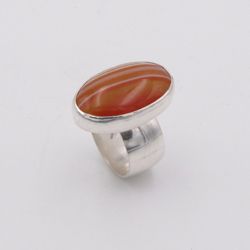 Oval Carnelian Agate and Silver Ring