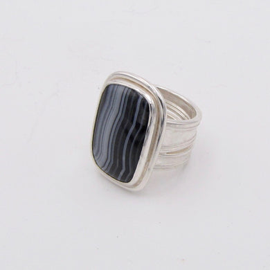 Banded Agate and Silver Ring