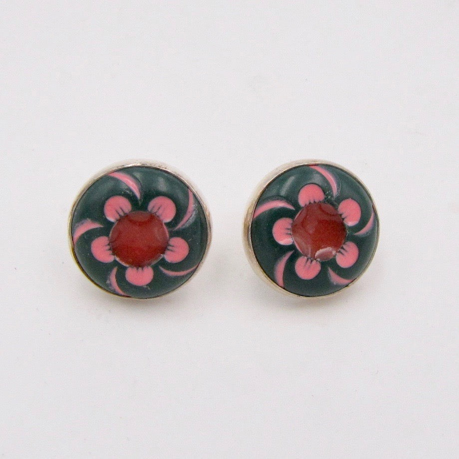 Stud Button Earrings