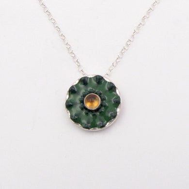 Green and Citrine Button Pendant
