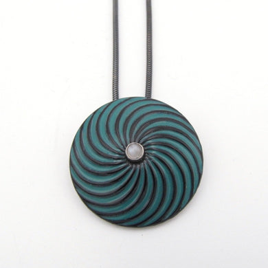 Teal Swirl Pendant with Moonstone