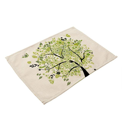 New! Tree Of Life Linen Placemats