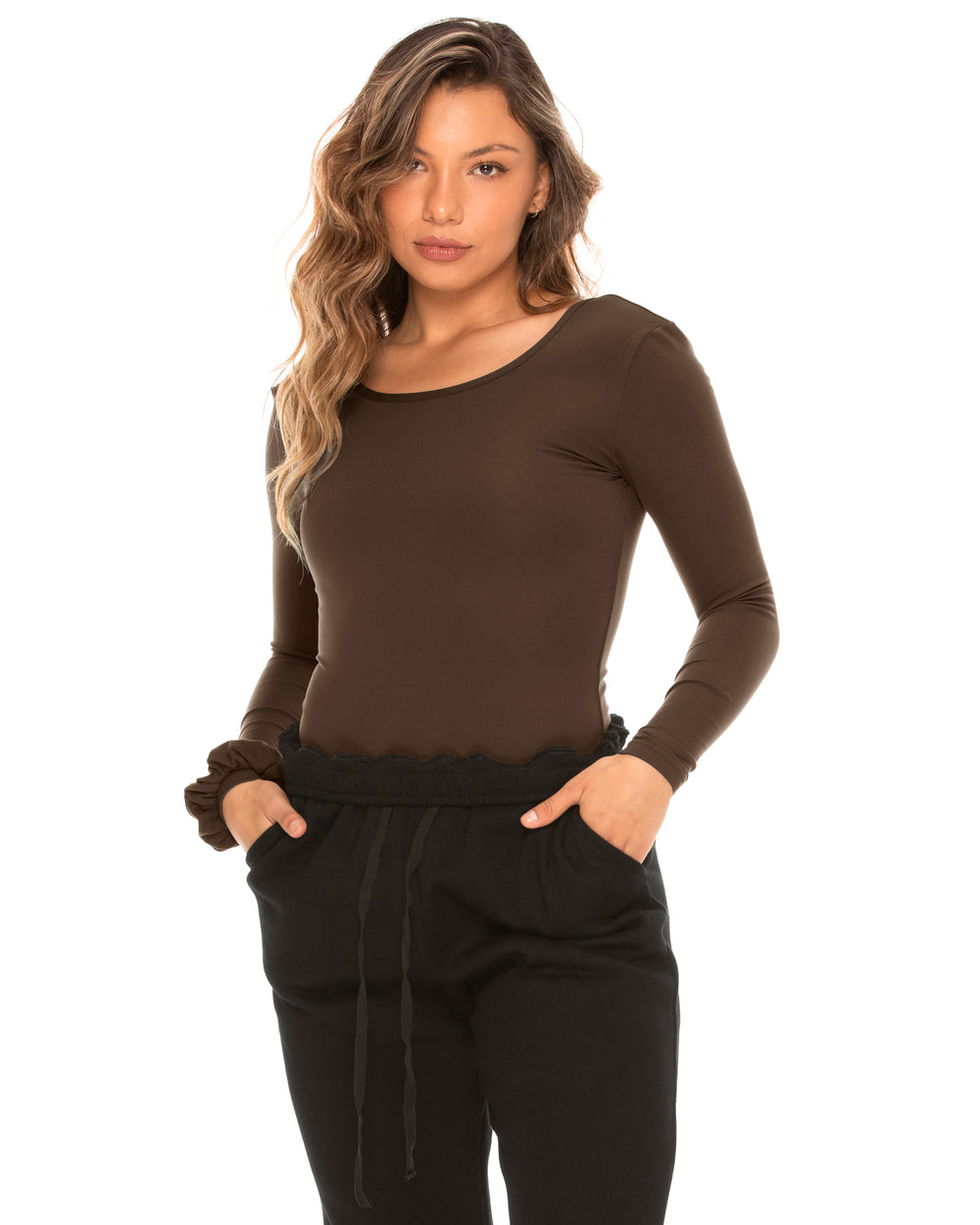 Scoop Back Long-Sleeve Bodysuit - Olive