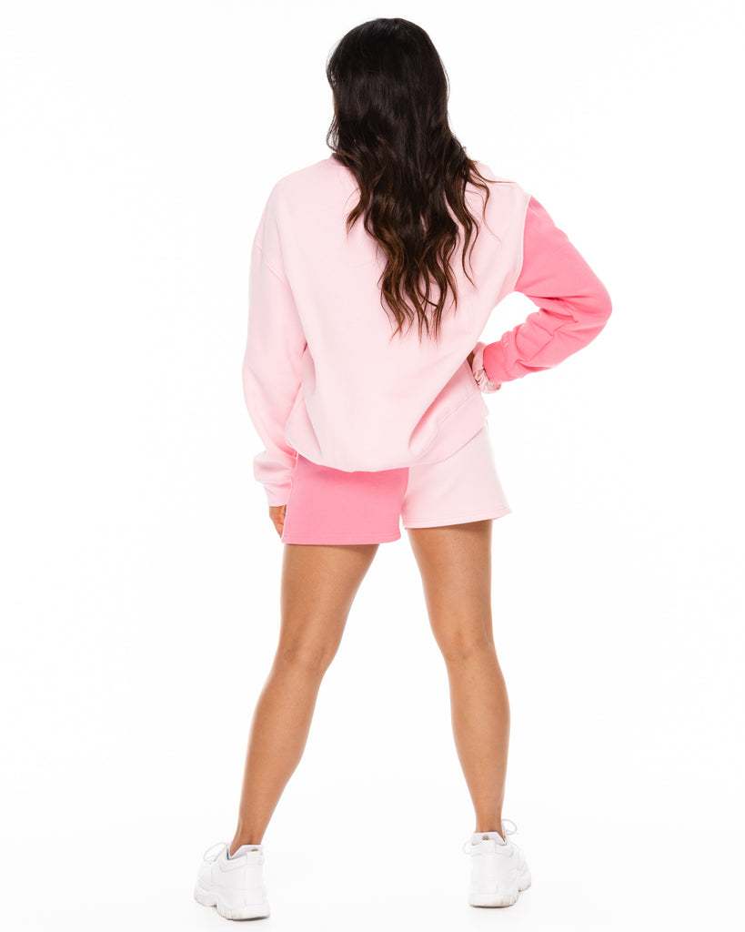 Oversized Colorblock Shorts - Pink