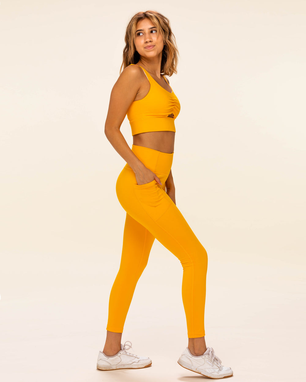 Ruched Sports Bra - Saffron