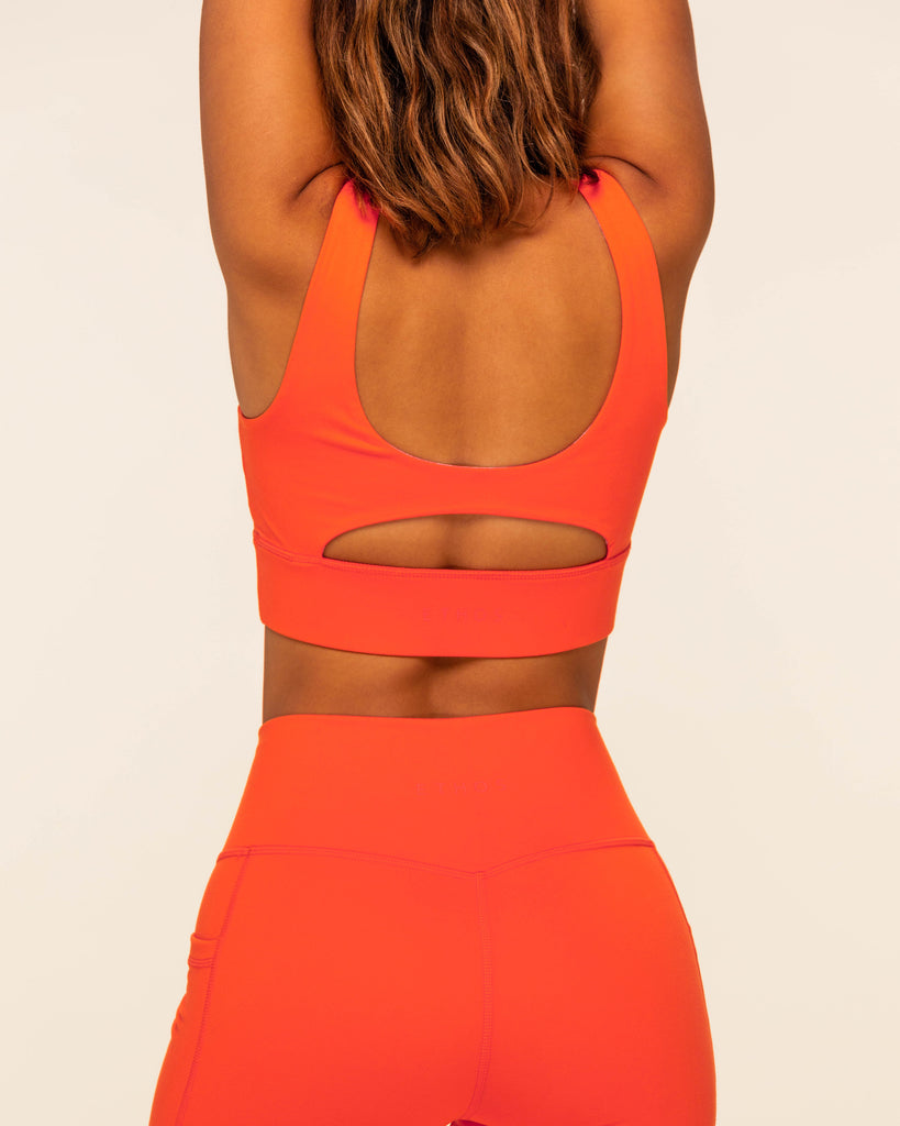 Ruched Sports Bra - Fire